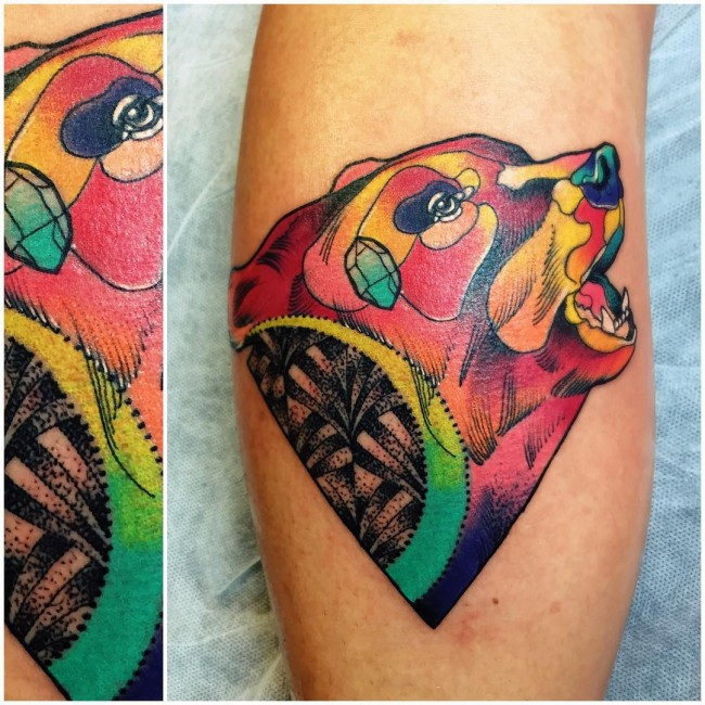 Colorful Ink Amazing Bear Head Tattoo Design On Men Calf