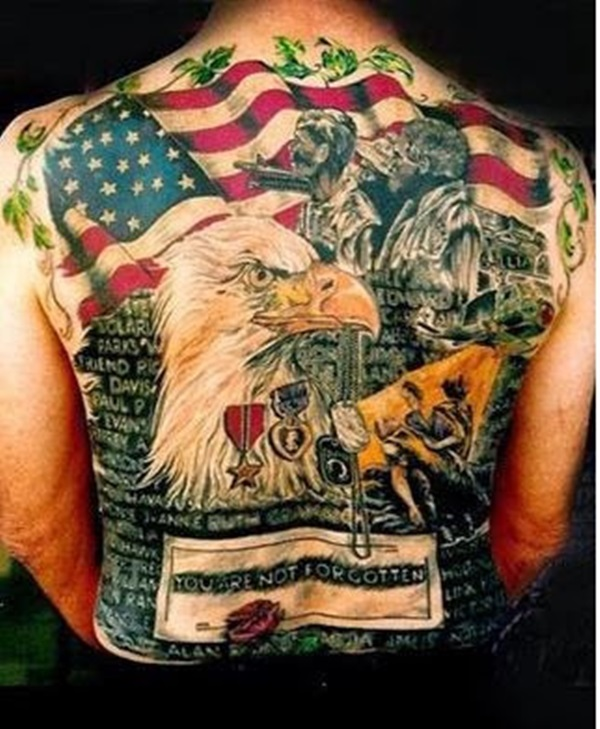 Cool Colorful American Flag Eagle War Tattoo Design On Men Back Body