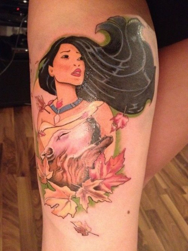 Coolest Colorful Asian Animated Girl Face Tattoo On Men Calf