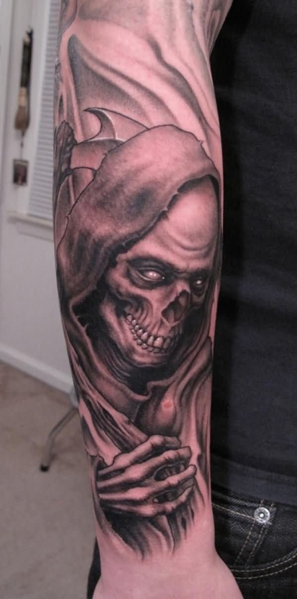 Coolest Grim Reaper Smiling Face Tattoo On Men Sleeve