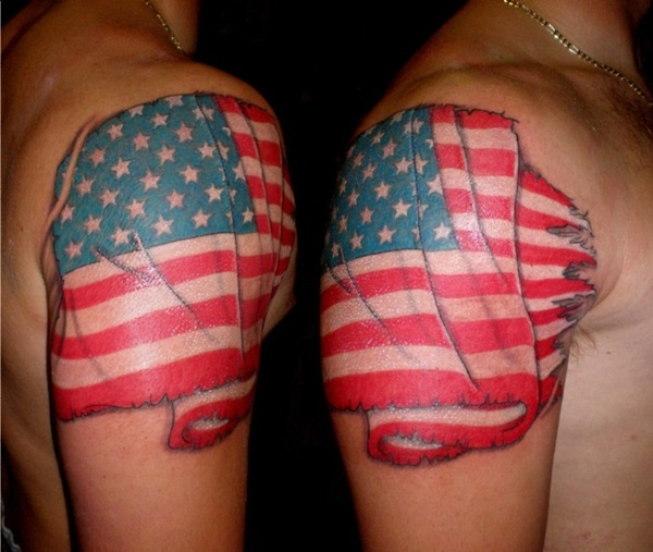 Coolest Red And Blue Ink American Flag Tattoo Design For Men Shoulder