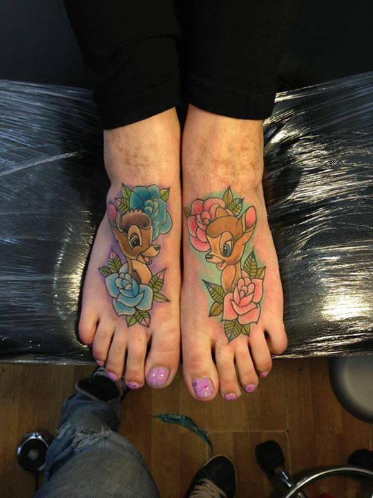 Cute Colorful Ink Animal Deer And Rose Flower Tattoo On Women Foot