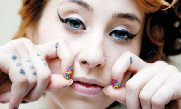 Cute Nail Art Girl With Nice Knuckle Finger Tattoo Designs