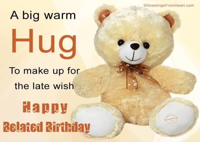 Cute Teddy Happy Belated Birthday Wishes Image