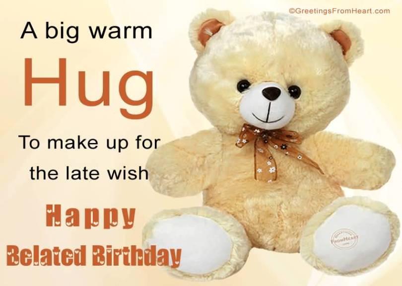 Cute Teddy Happy Belated Birthday Wishes Image