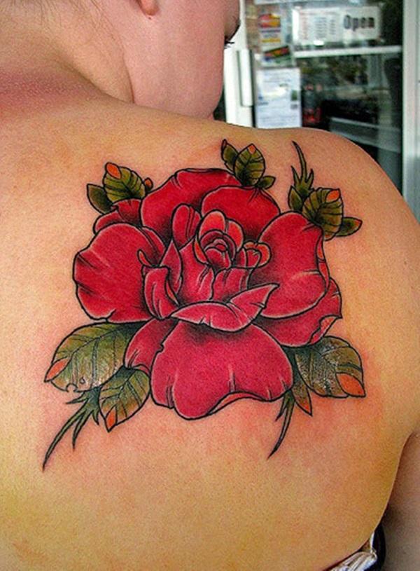 Fabulous 3d Red Rose Flower Tattoo Design On Women Back Shoulder