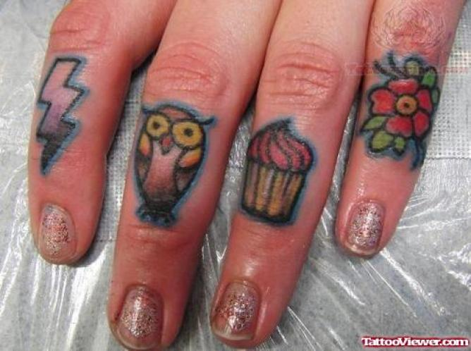 Fabulous Cute Owl Thunder Cake Flower Tattoo Idea For Women Fingers