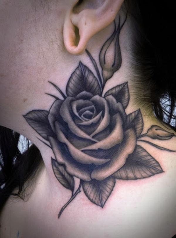 Fabulous Grey Ink Rose Flower 3d Leaf Tattoo On Girl Neck