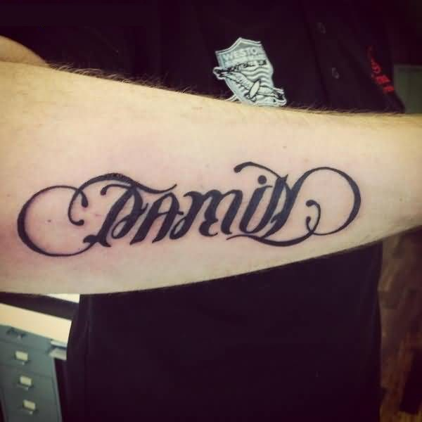 Fantastic Family ambigram tattoo on sleeve for boys