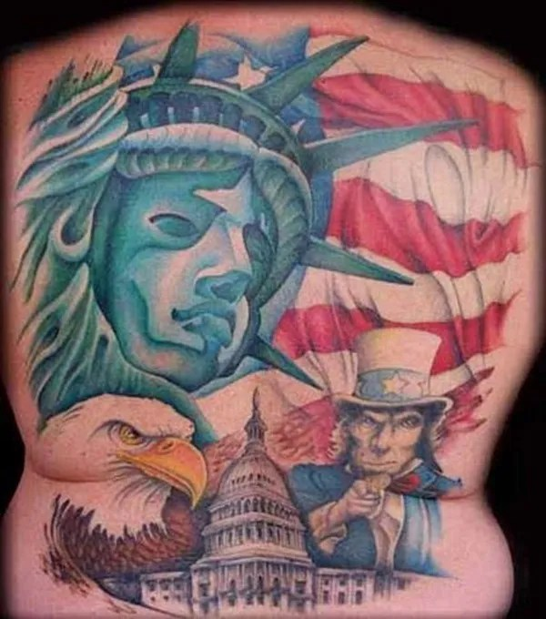 Fantastic Ststue Of Liberty American Flag Abraham Lincoln Eagle Tattoo On Back