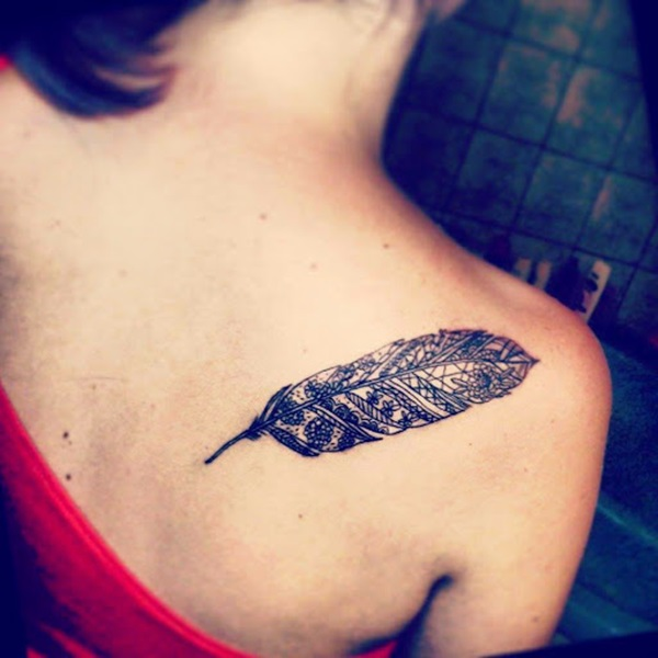 Fantastic Traditional Feather Tattoo For Women Back Shoulder