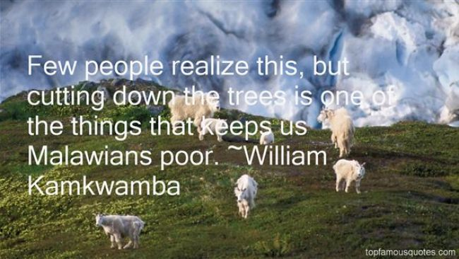 Few people realize this but cutting down the trees is one of the things that keeps us Malawians William Kamkwamba