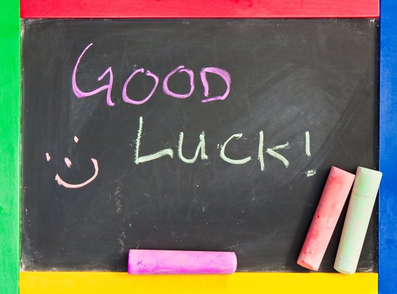 Good Luck Written On Blackboard Wishes Image
