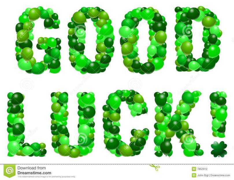 Green Text Good Luck Wishes Image