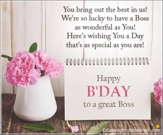 Happy Birthday Message Card For Boss