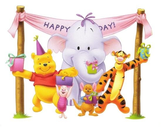 Happy Birthday Pooh And Family Wishes Greeting