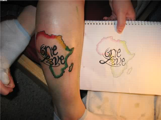 Horrible Red And Yellow Color Ink One Love African Map Tattoo On Leg For Boys