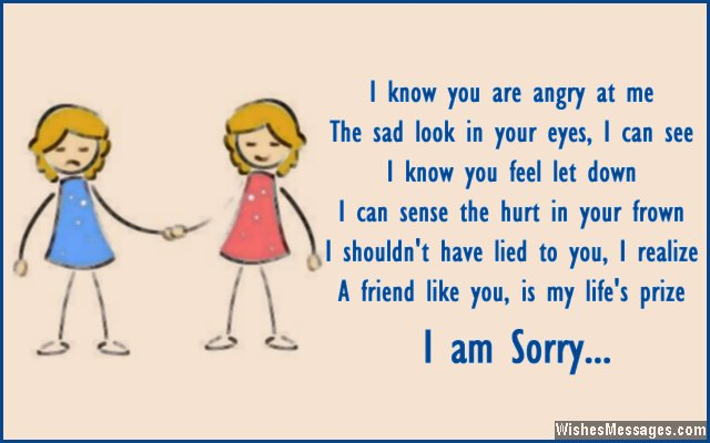 I am really sorry if i hurt you sister