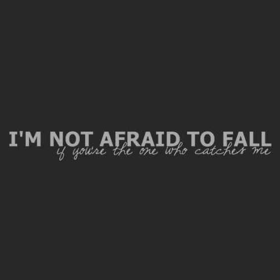 I'm not afraid to fall. If you're the one who catches