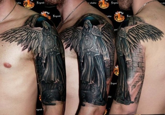Latest Gray And Black Color Ink Half Sleeve Of 3D Dark Angel Tattoos For Boys