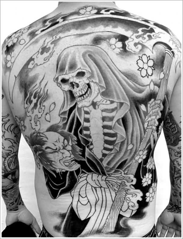 Lovely Black Ink Grim Reaper Asian Men Tattoo For Back Body