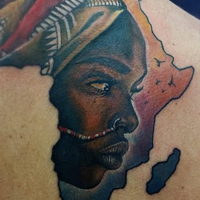 Marvelous African Lady Tattoo In Map