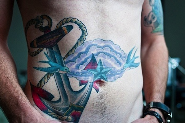 Mind Blowing Anchor Swallow Bird Star Tattoo For Men Stomach