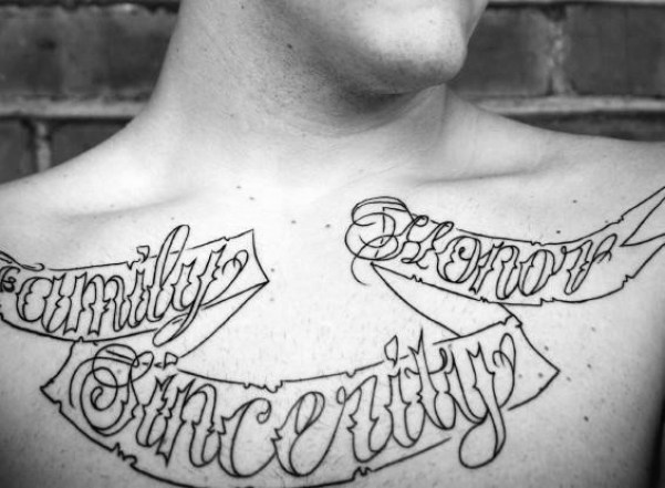 Mind Blowing Black Ink Banner Outline Tattoo On Men Chest