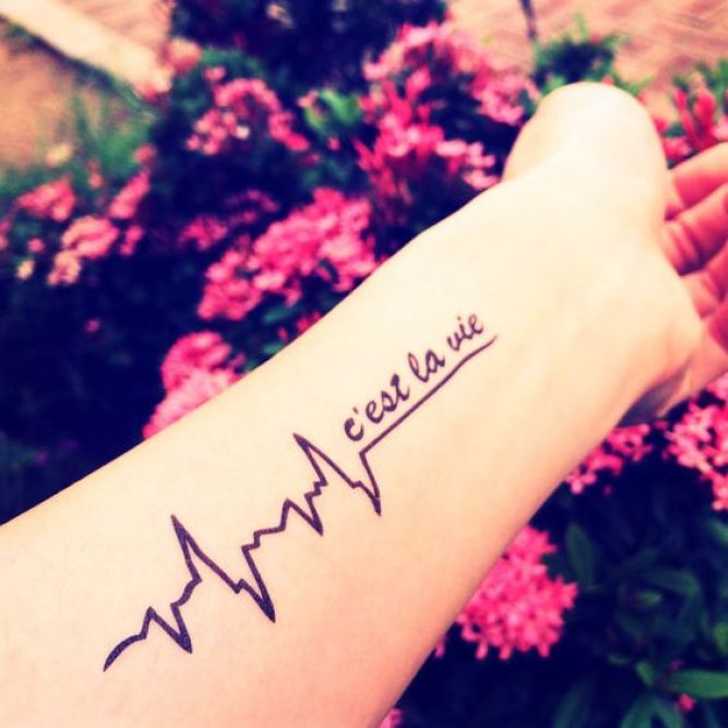 Mind Blowing Heartbeat Black Ink With Quote Tattoo On Women Lower Arm