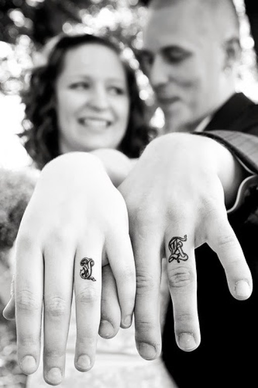 Mind Blowing Initial Tattoo For Couple On Finger