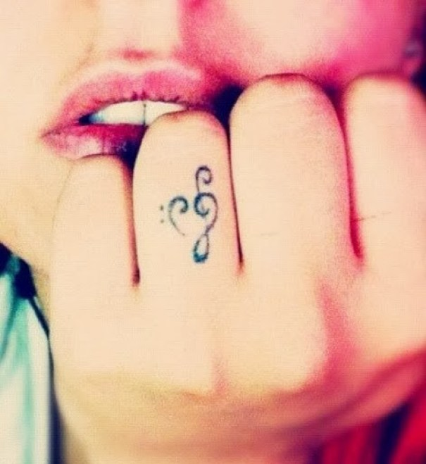Mind Blowing Music Love Tattoo For Women Ring Finger