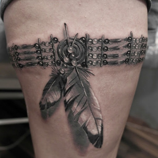 Most Amazing 3d Grey Ink Feather Thigh Band Tattoo For Women