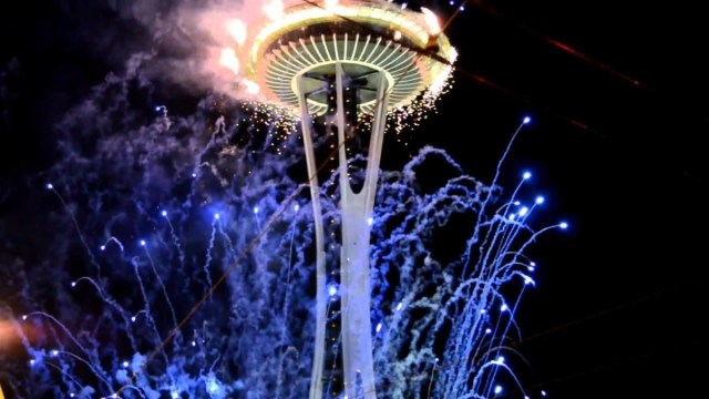 Most Beautiful Fireworks In Space Needle Tower In Seattle Washington At Night