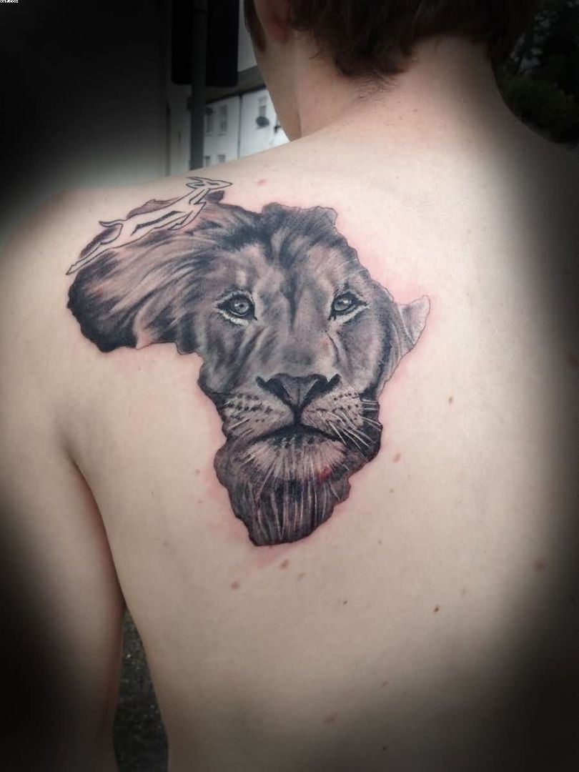 Motivational Grey Color Ink African Lion Face Tattoo On Man Back For Boys Only