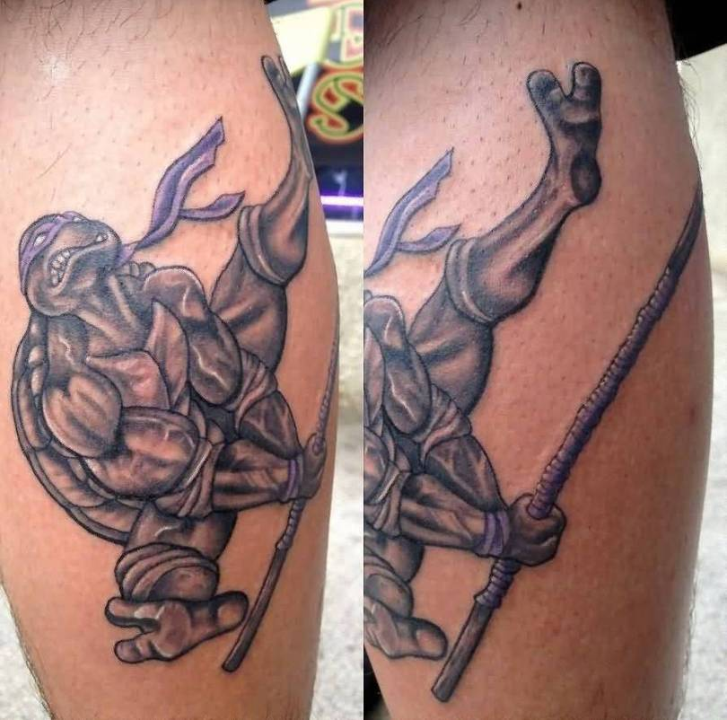 Nice Animated Grey Ink Ninja Turtle Tattoo Design On Men Calf
