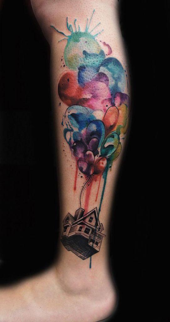 Nice Colorful Disney Animated Up Baloon Tattoo On Leg
