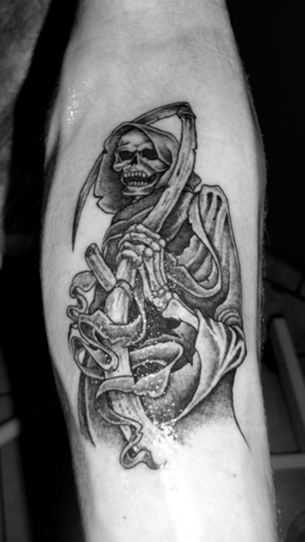 Nice Grey Ink Grim Reaper Tattoo For Men Inner Arm