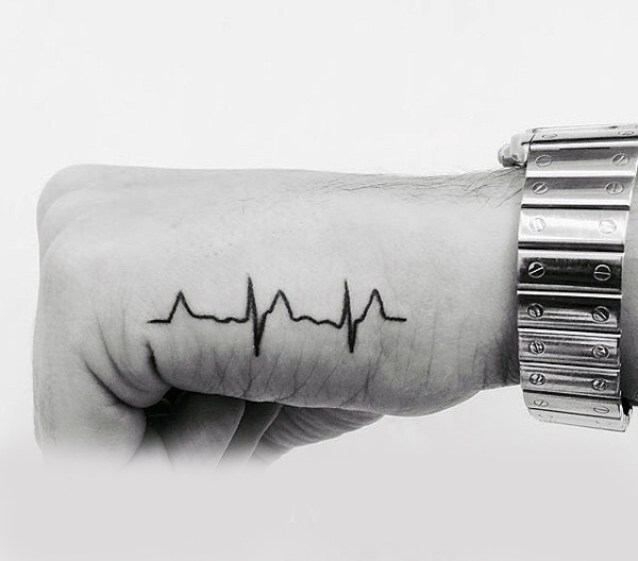 Nice Heartbeat Hand Tattoo Design For Men