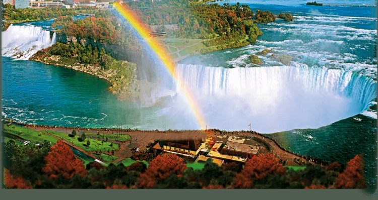 Nice Rainbow Color Of Niagara Falls With River