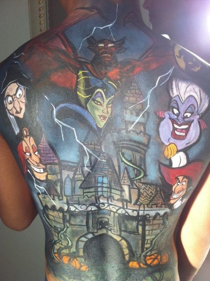 Nice Scary Animated Groovy Castle Tattoo For Women Full Back Body