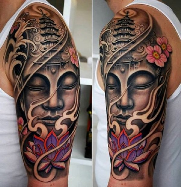 Realistic Buddha Tattoo With Colourful Ink For Woman Man