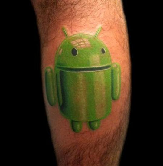 Simple Green Ink 3d Android Tattoo Dsign Idea For Men Calf