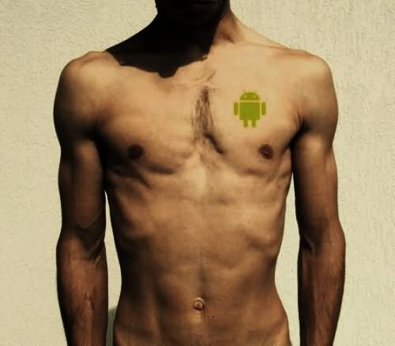 Small Green Android Tattoo Design For Men Chest