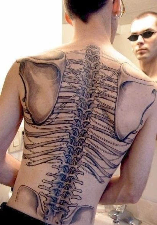 Stunning Grey Color Ink 3D Skeleton Tattoo On Back For Boys