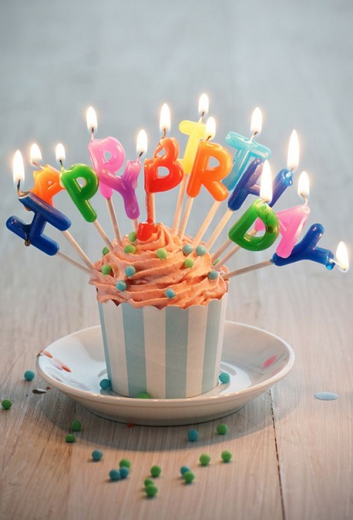 Sweet Cupcake With Happy Birthday Candle Image