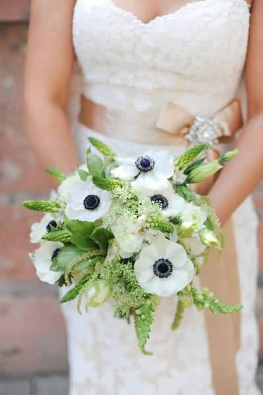 Sweet White Anemone Bouquet Flowers In Girls Hands