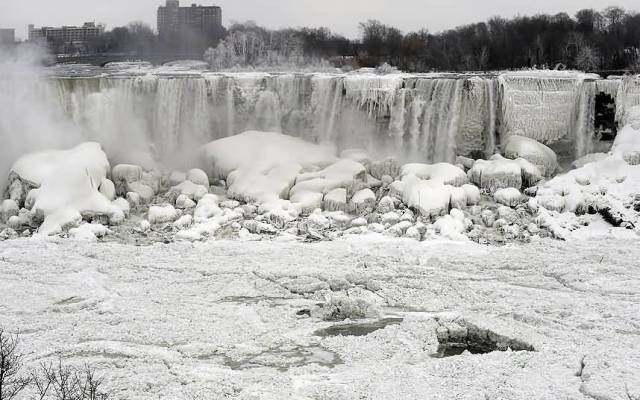The Brilliant Side View Of The Niagara Falls With Beautiful White Snow