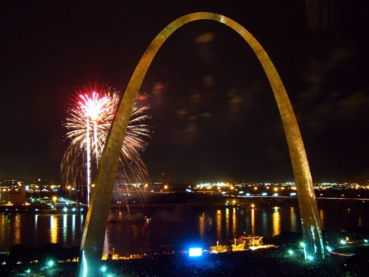 The Gateway Arch At Night With Fireworks