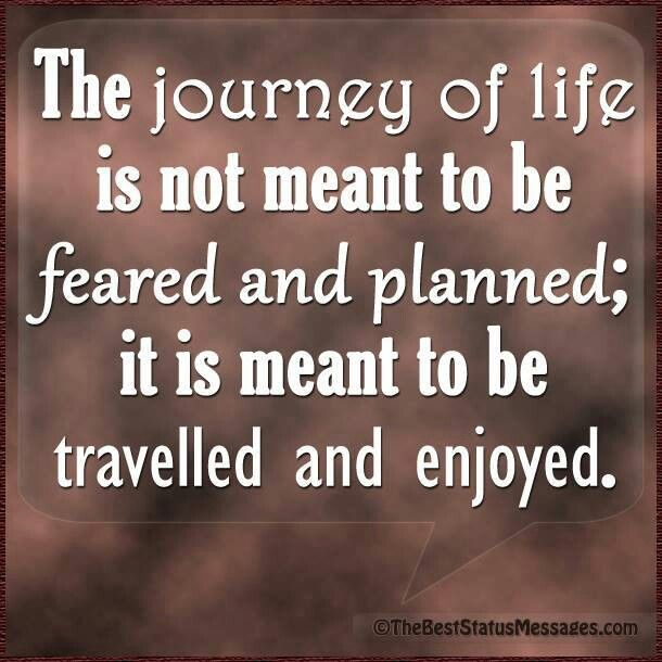 The journey of life is not meant to be feared and planned it is meant to be travelled and