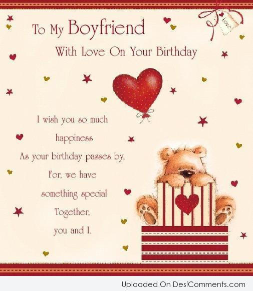 To My Loveable Boyfriend Happy Birthday Card